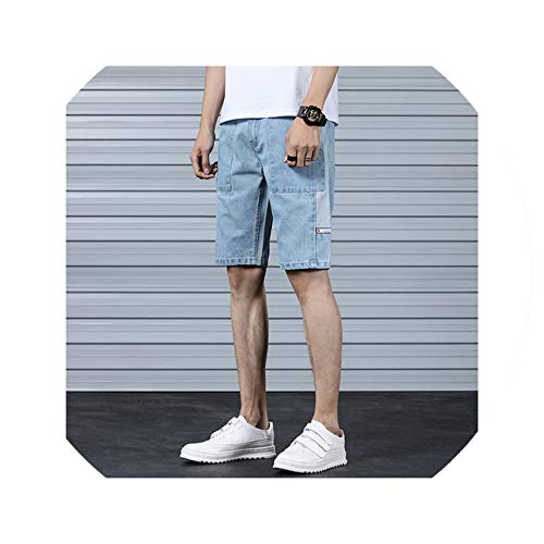 Carpenter Style Jeans (Summer New Denim Shorts Men's Straight Slim Fashion Casual Shorts Men's Cotton Tooling Style Loose Denim Shorts Size 28 36,Blue,36)