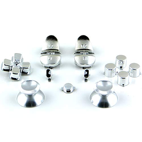 Sticks und Tasten Set/Mod Kit mit Aluminium Thumbsticks passend für PS4® Controller - Chrom Silber - Gun-antenne