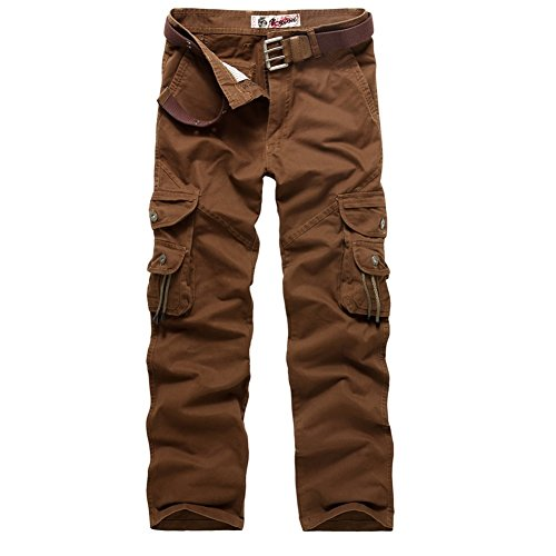 AYG Herren Cargo Hose Camouflage Trousers(red coffee,30)