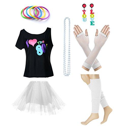 Fun Daisy Clothing Damen I Love The 80er Jahre T-Shirt 80er Jahre Outfit Zubehör, Weiß - UK 16-18 / L-XL