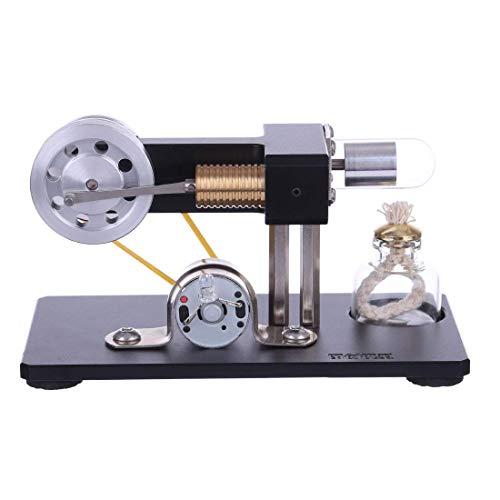 AMITD Stirling Motor Modellbau, Stirlingmotor Bausatz mit Messing Zylinder Stirling Motor Pädagogisches Spielzeug für Kinder und Erwachsene - Schwarz