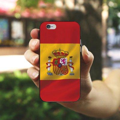 Apple iPhone X Silikon Hülle Case Schutzhülle Spanien Flagge Spain Silikon Case schwarz / weiß