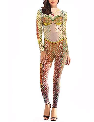 POIUYT Halloween Kostüm Party Ladies Onesies, Bühnenkostüme, Realistische Ergonomische Drucke, Outdoor-Strumpfhosen, Sexy Kostüme Für Maskerade,XL,Yellow-XL