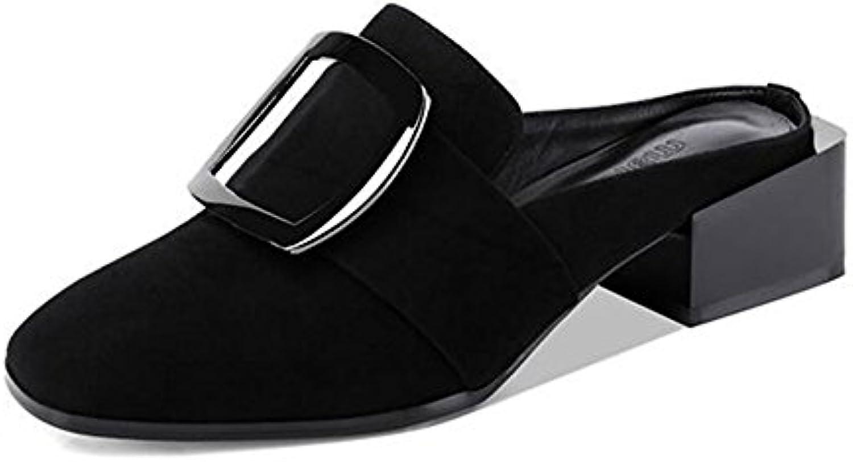QIDI Sandalias Temporada De Verano Mujer Negro De Moda Talón Medio Zapatos Individuales ( Tamaño : EU39/UK6 )