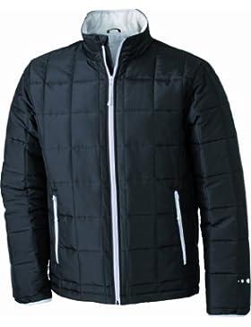 James & Nicholson Steppjacke Padded Light Weight - Chaqueta Hombre, Negro (black/silver), Small (Talla del fabricante...