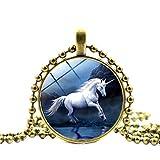 YaptheS Mode Dreamy Einhorn-lange Halskette Creative Glass Vaulted Halskette Schmuck-großes Geschenk für Freund-Familienmitglied oder Yourself Bronze