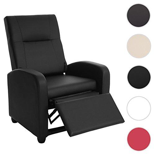 Fernsehsessel Denver Basic, Relaxsessel Relaxliege Sessel, Kunstleder ~ schwarz