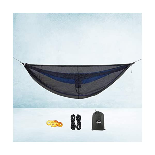 LIOOBO 1Set Camping Hammock with Mosquito Net Lightweight Adjustable Net Hammock Bug Hammock Mosquito Hammock for Backpacking Beach LIOOBO Great Gifts: adults, couples, travelers, couples with kids, beachers, campers - everyone says they enjoy it! A great gift for travel, camping, yard You can also quickly store the hammock and parts in the bag quickly. The camping hammock compacts to a backpack friendly, portable size for your convenience. Has built-in ultralight, waterproof compression stuff-sack, with a 2-sided buckle design that wonâ€t drag in the dirt while you hang. 7