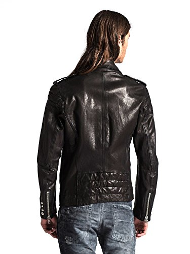 Diesel Illianne Herren Leder Jacke schwarz 900 Schwarz