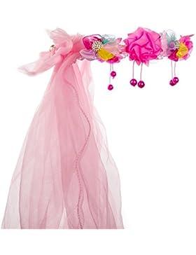 Ibepro® - Fascia per capelli per bambini con corona di fiori in pizzo, copricapo in pizzo con fiori con strass...