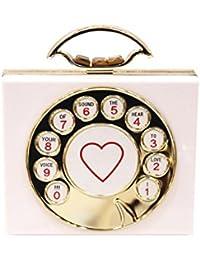 CoralTree Vintage Telephone Design Cross Shoulder Sling Purse Acrylic Box Clutch/Handbag Clutch- White