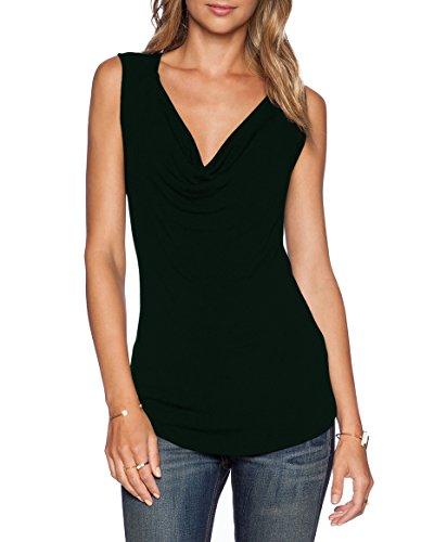 ZJCTUO Damen V-Ausschnitt Ärmellos Wickelshirt Asymmetrisch Stretch Basic Shirt Tunika Obertail