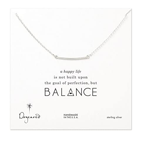 Dogeared Silver Balance Square Bar Necklace