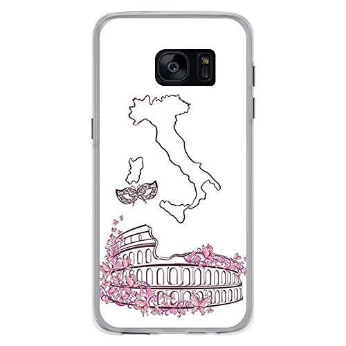 BJJ SHOP Transparent Hülle für [ Samsung Galaxy S7 ], Klar Flexible Silikonhülle, Design: Römisches Kolosseum, Italien
