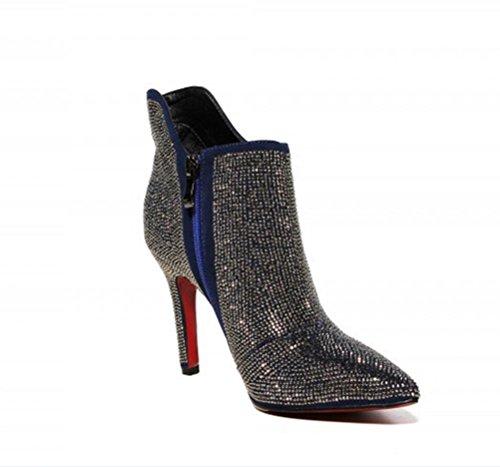 ZPL Fashion star Strass Stiletto Leder Damenstiefel , blue velvet , 37 -