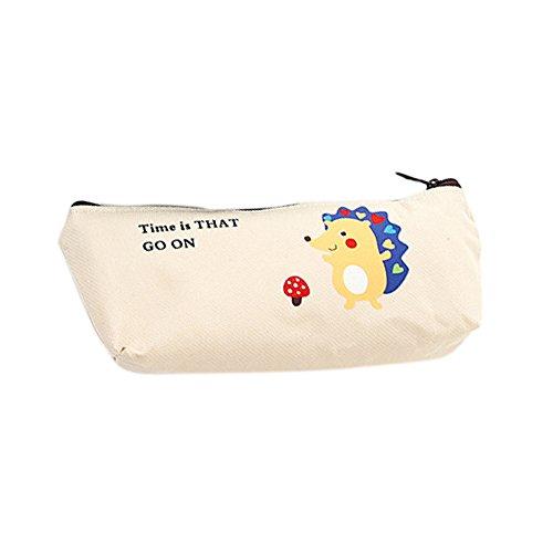 Cosanter Bolso de Lápices Patrón de dibujos animados erizo Estuche de Lápices de Lona para Papelería estudiantil (Beige) 20 x 9,3 cm