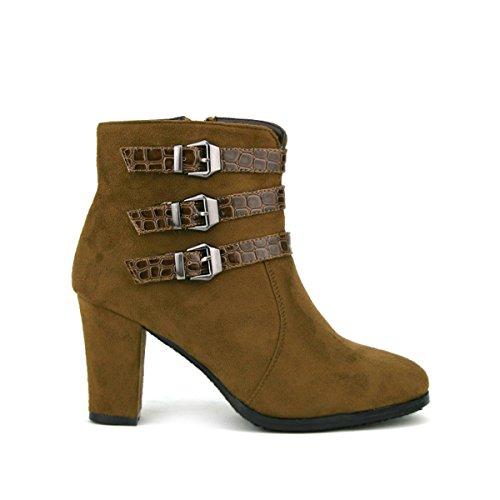 Cendriyon, Bottine Simili Peau Cuir MBB Chaussures Femme Marron