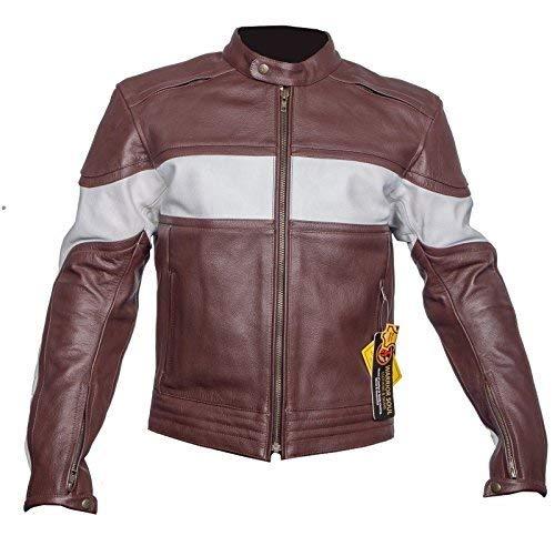 Preisvergleich Produktbild Harley Ayrah Neuer Herren Kuhfell Originale Leather Motorrad Ce Verstärkt Leather Motorrad Klassisches Biker Jacken - Braun & Weiß,  L