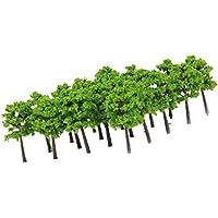 40pcs Árboles Modelos de Plástico de Escala 1: 250 para Paisaje de Tren de Color Verde
