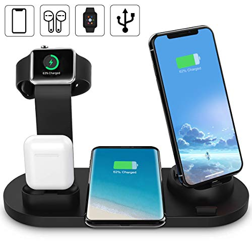 Yaature 6 in 1 Fast Wireless Charger, Qi Kabelloses 10W Induktive Ladestation für AirPods, iWatch 5/4/3/2/1, iPhone 11/XS/XR/X/8, Samsung S10/S8+/S7/Note 9 usw. (mit einem USB Ausgang)