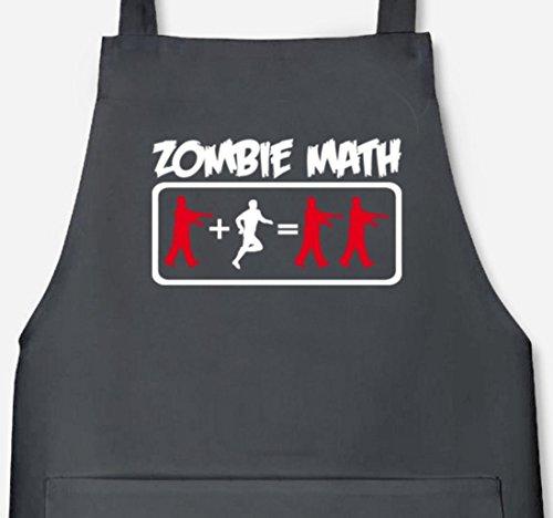 Halloween Grillen Barbecue Grill Schürze Kochschürze mit ZOMBIE MATH Motiv, Größe: onesize,Dark Grey
