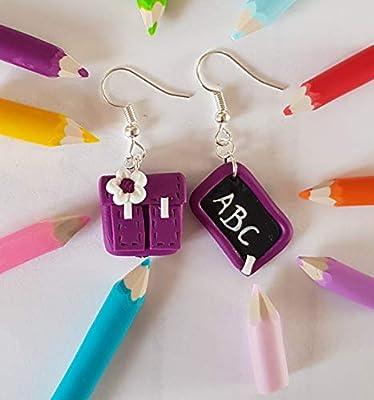 cadeau maitresse,boucles d oreilles maitresse,cartable et ardoise,violet,abc