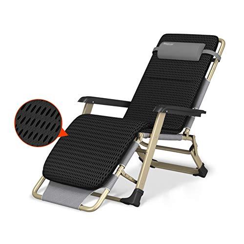 Liegestühle Oversize Reclining Lounge Chairs mit schwarzem Wattepad, Verstellbarer Zero Gravity Patio-Klappstuhl, Outdoor-Camping/Strand/Pool