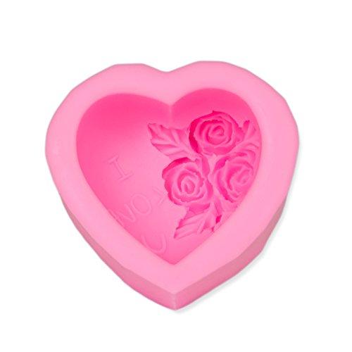 Seifenform Herz mit Rose, Gießform, Silikonform für Seifen und Kerzen, Bodymelt, Gips-Form, Seifengießform, Seifenstempel, Bodymelts, Badekugel, Herzchen, Soap, Deko, Farbe: Rosa, Marke: BlueFox