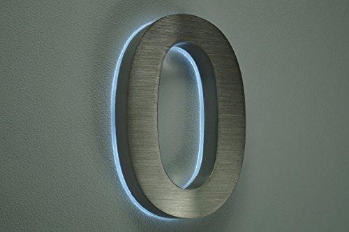 HAUSNUMMER 0 EDELSTAHL in 3D beleuchtet ca.H18cm/180mm LED weiss (12Volt) ohne Trafo