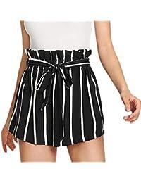 SHOBDW Pantalones Cortos elásticos de la Playa de la impresión de la Raya  de Las Mujeres del Verano de la Cintura Alta Pantalones… a728e0fda84