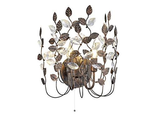 Lámpara de pared LED 2luces metal 40cm de ancho en color marrón óxido con hojas de acrílico...