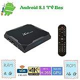 X96 Max TV Box Android 8.1, 2 + 16 Go, 4K Boîtier Numérique et Intelligent pour la Télévision, Boîte Télé avec Télécommande(CPU Amlogic S905X2 Quad Core / Arm Cortex A53 / Connexion WiFi / H.265