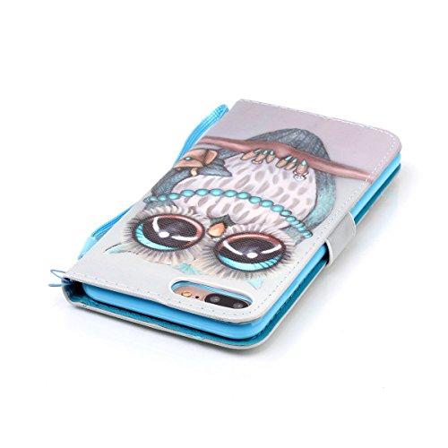 iPhone 7 Plus Hülle,SainCat PU Leder Hülle Brieftasche im BookStyle Wallet Case Lederhülle Folio Karikatur Muster Bär Schutzhülle Ledertasche Hülle Bumper Handytasche Skin Schale Soft Backcover Handy  Owl