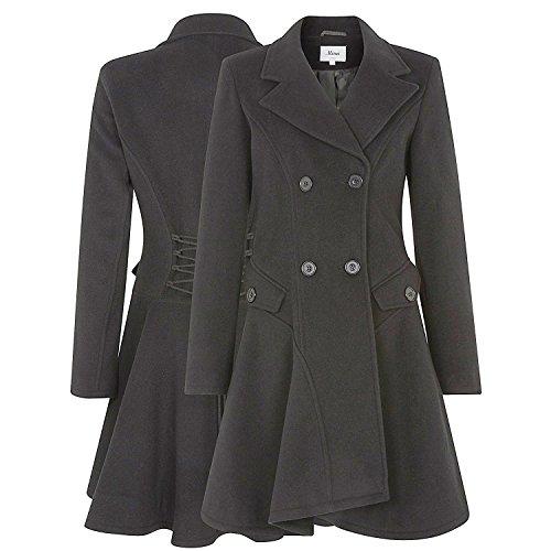 La Creme - Damen Baumwolle & Kaschmir Jacke Damen Winter Zweireihig Ausgestellt Mantel Dunkelgrau