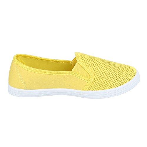 Ital-Design Damen Schuhe, FC16-V13, Halbschuhe Moderne Slipper Gelb
