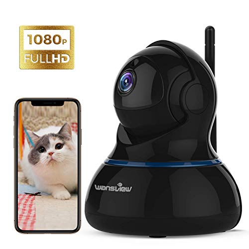 Wansview WLAN IP Kamera, Überwachungskamera 1080P HD mit Schwenk- und Neige, 2-Wege Audio und Nachtsicht Sicherheitskamera Home Indoor-Kamera für Haustier und Baby Monitor Q3S Schwarz - Digital-kameras, Audio