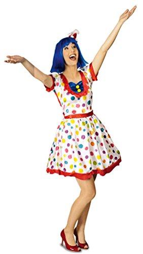 lown-Kostüm Damen Frauen sexy weiß bunt gepunktet Clown-Kleid Größe 40/42 (Sexy Erwachsene Frauen Kostüme)