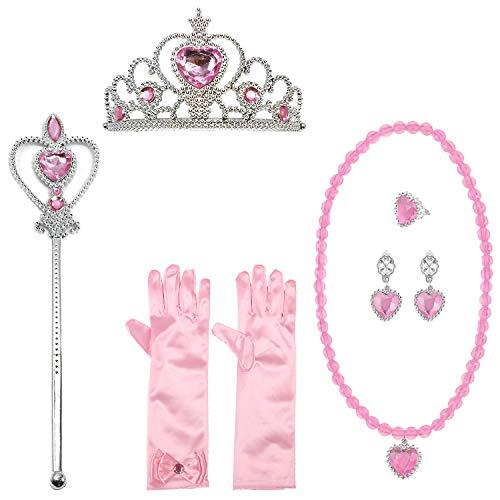 Biofieay Prinzessin Kostüme Zubehör Verkleidung Set Kinder Mädchen Krone Handschuhe Ohrring Zauberstab Halskette Ring Haarreifen Zopf (Hübsche Prinzessin Baby Kostüm)