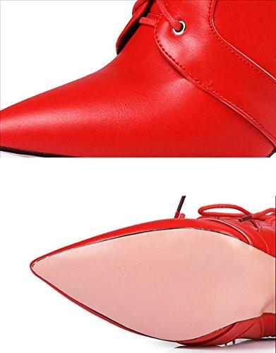lusure Noir glissière Stiletto Lace unie résistant Confortable doux Bottes à latérale JAZS® Couleur Couleur Fermeture 36 sexy pointue Up Rouge taille à 06Utvqw