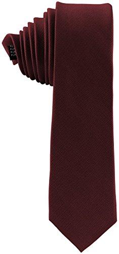 ADAMANT® Seidenkrawatte Dunkelrot 6cm   100% Reine Seide   Moderne uni Krawatte für Business und Alltag - Dunkelrot / Rot / Bordeaux