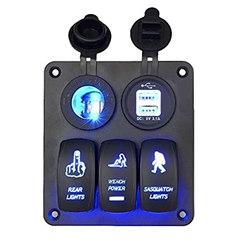 LED Switch, Hansee 5 Gang Waterproof Car Auto Boat Marine LED Rocker Switch Panel Circuit Breakers