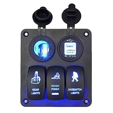 LED Interrupteur, hansee 5Gang Panneau LED voiture auto Bateau Marine étanche Interrupteur à bascule disjoncteur électrique