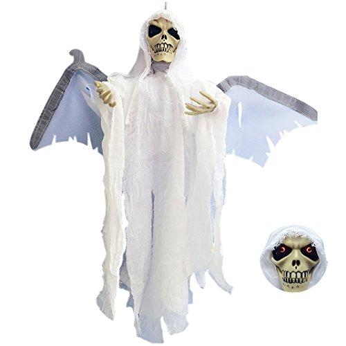 Halloween Schädel Maske Scream Stimmverzerrer Maske Schrei Lichtsteuerung Augen rotes Licht Glühend Flügel Halloween Masquerade Party Halloween Horror Mega Profi Set unheimlich günstig - Grusel, Karneval und Partykracher all inclusive Verkleidung
