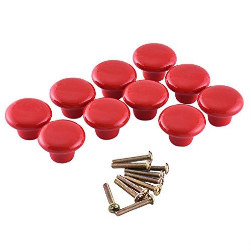 Zyurong ®-Confezione da 10 pomelli in ceramica colorata per maniglia cassetti armadio Set di viti da cucina, Rosso, large