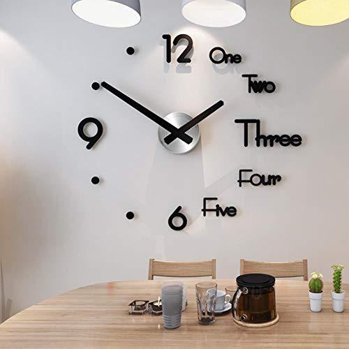 KSLD Wanduhren Acryl Große Wanduhr Modernes Design 3D Wohnzimmer Quarz Wandaufkleber DIY Uhr Wohnkultur, Schwarz, China, 8Mm-60Cmx68Cm