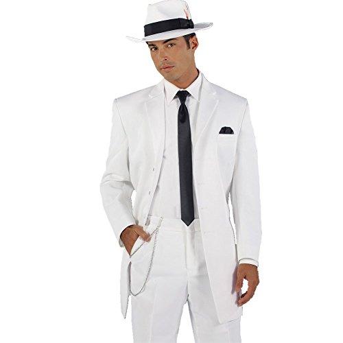 MYS da uomo personalizzata sposi Pantaloni Lunghi Wedding Tuxedo Suit Tie, colore: bianco White 44 Regular