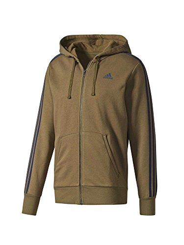 adidas Herren Essentials 3-Streifen Fleece Hoodie Sweatshirt, Grün (Olitra/Maruni), XS (Hoodie Adidas Fleece)
