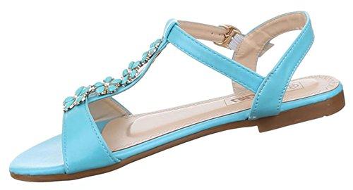 Damen Schuhe Sandalen Riemchen Hellblau