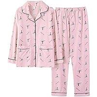 Pijama Patrón De Larga León Algodón La Mujer Diente TENGTENGCAI Pajama De De Manga De Establece 67qWBd