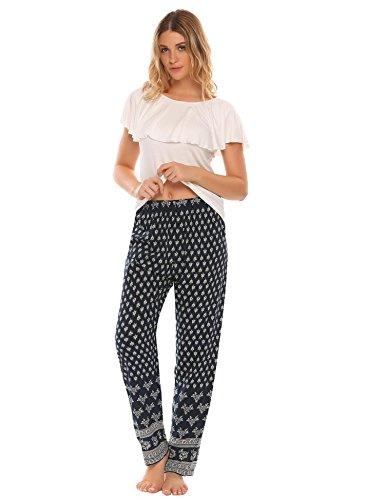 Lucyme Damen Schlafanzüge Pyjama Set Lang Nachtwäsche Nachthemden, A-weiß, EU 42(Herstellergröße: XL) -